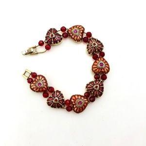 MONET Red Enamel Heart Slide Bracelet Vintage